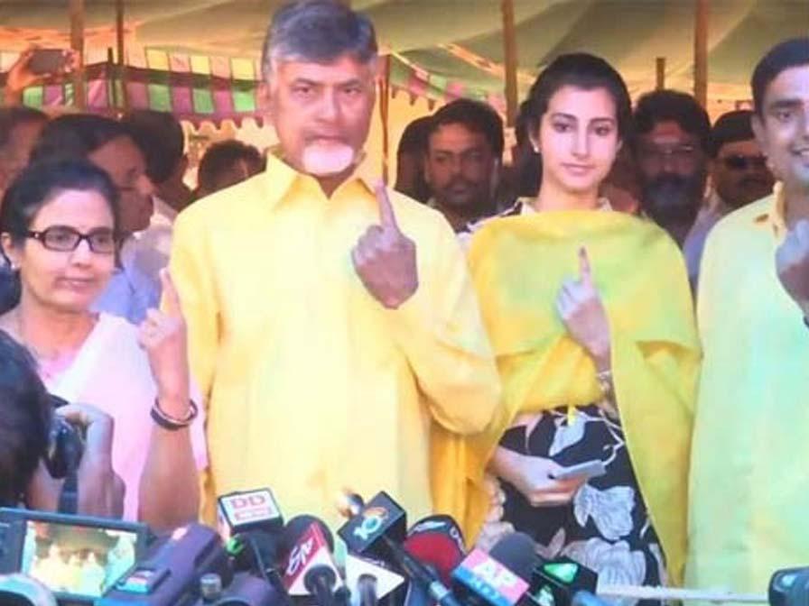 Andhra Chief Minister Chandrababu Naidu cast his vote in Amaravati