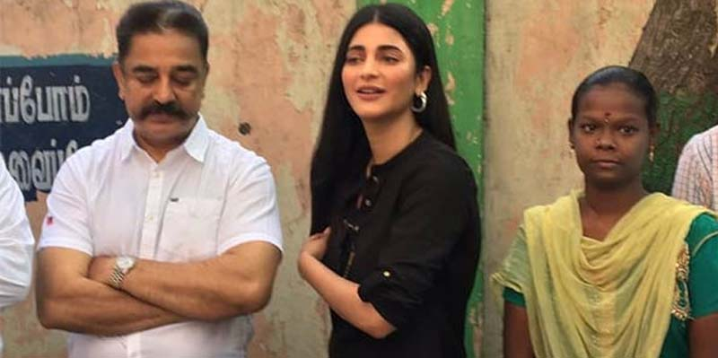 MNM Leader Kamalhaasan casts his vote with his daughter in Alwarpet
