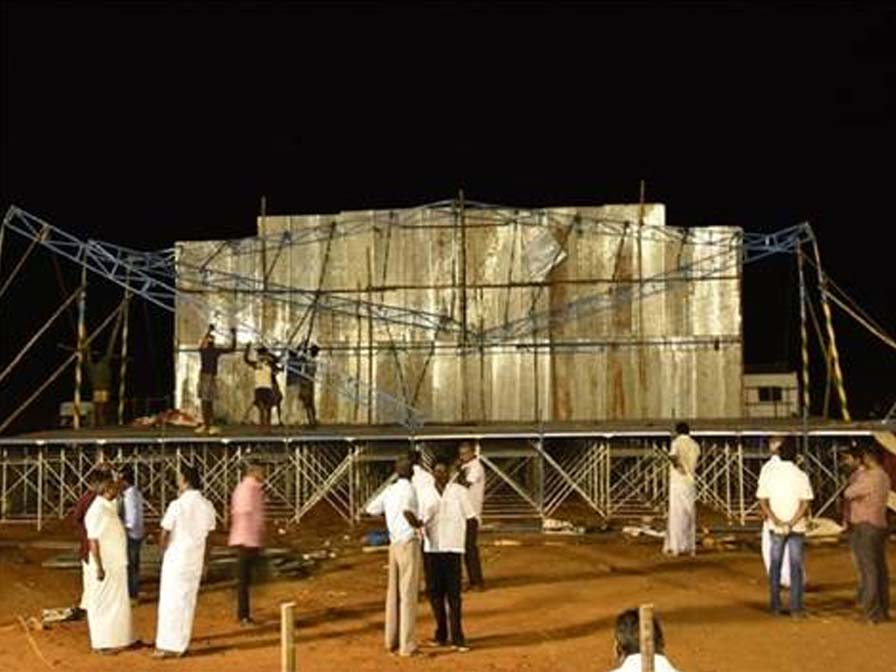 Rahul Gandhi meeting stage got collapsed in Theni